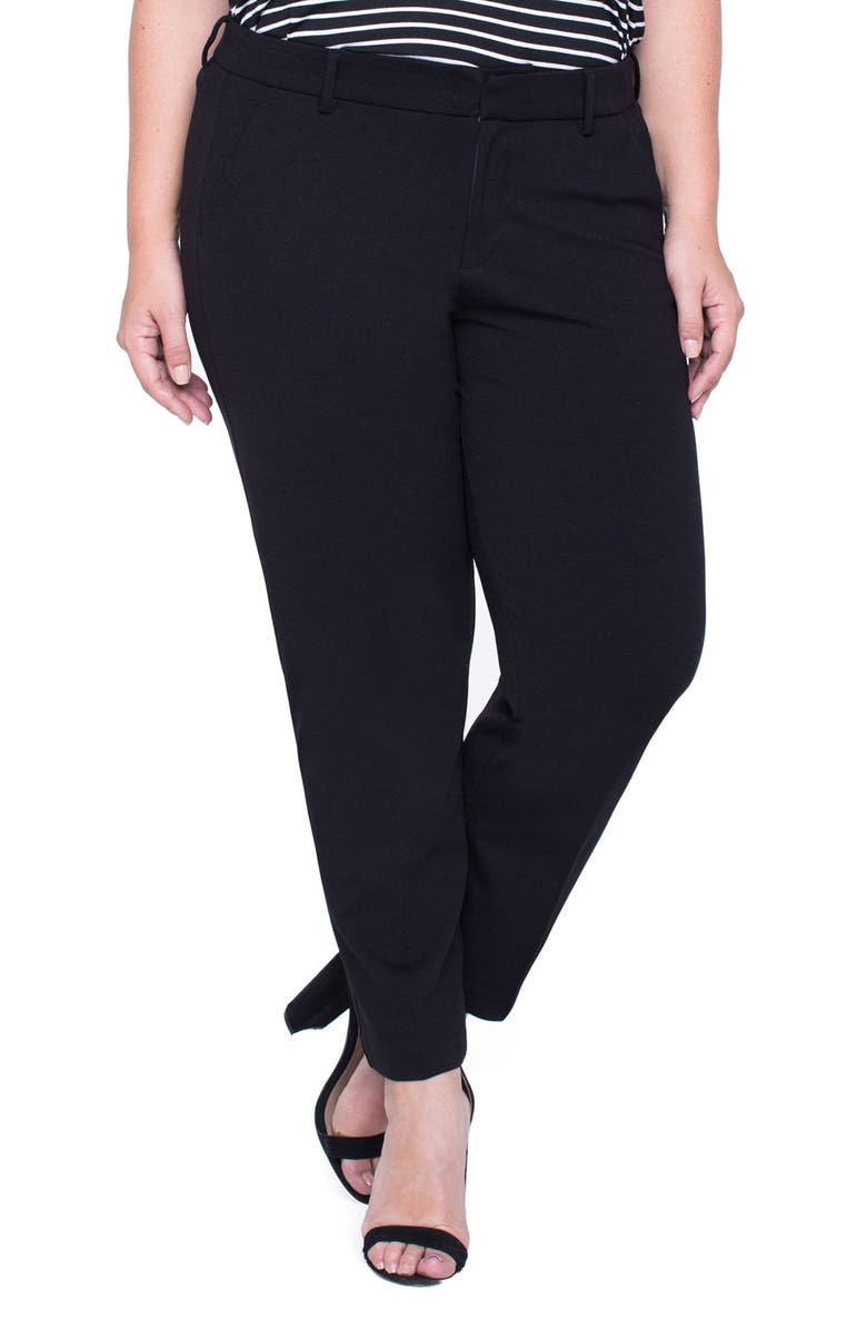 LIVERPOOL Kelsey Ponte Knit Trousers, Main, color, BLACK