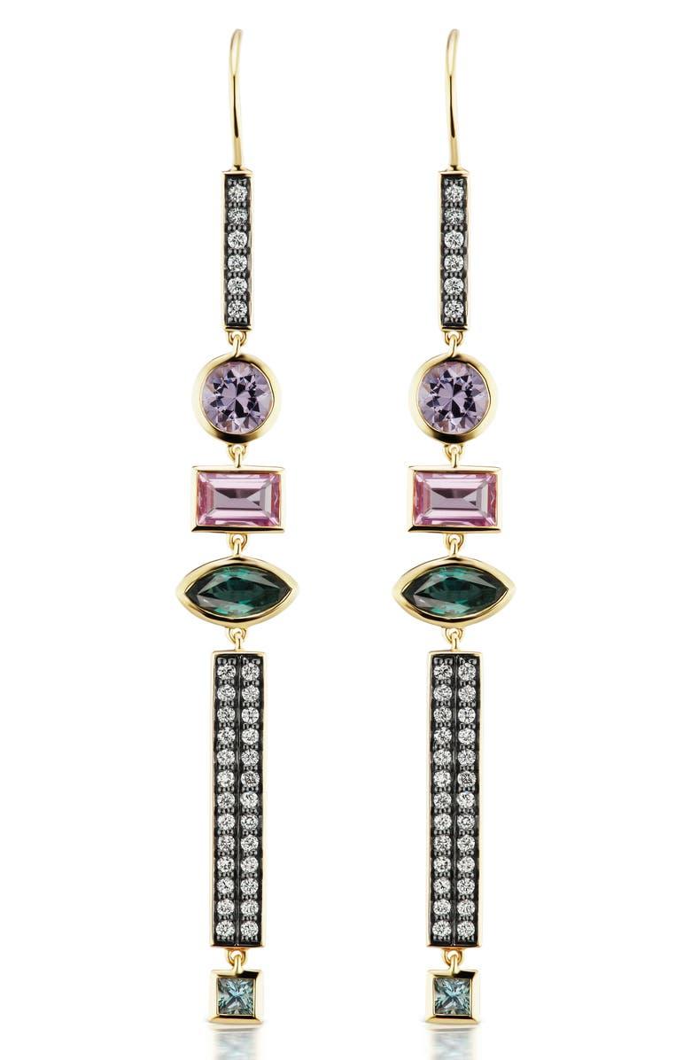 SORELLINA Diamond Bar Three-Stone Drop Earrings, Main, color, YELLOW GOLD
