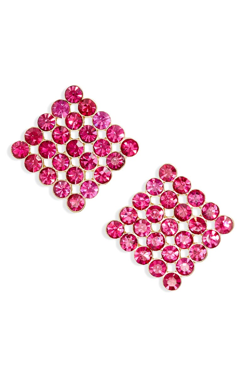 STELLA + RUBY Billie Crystal Square Stud Earrings, Main, color, GOLD/ FUSCHIA