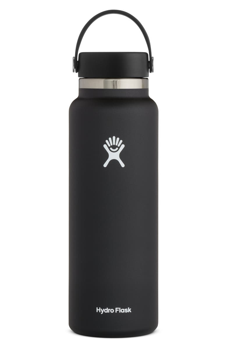 HYDRO FLASK 40-Ounce Wide Mouth Cap Bottle, Main, color, BLACK 2.0