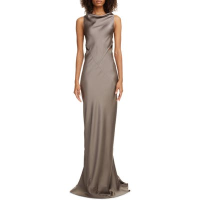 Rick Owens Back Cutout Hammered Satin Gown, 8 IT - Grey