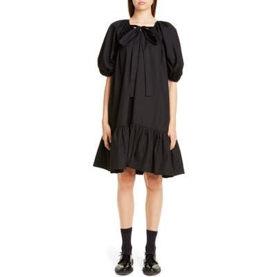 Cecilie Bahnsen Crystal Ruffle Hem Cotton Dress, US / 10 UK - Black