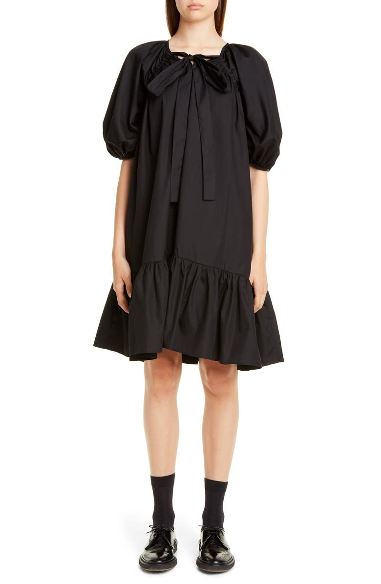 CECILIE BAHNSEN Crystal Ruffle Hem Cotton Dress, Main, color, BLACK