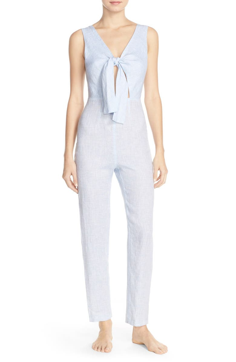 SOLID & STRIPED Tie Front Jumpsuit, Main, color, 400