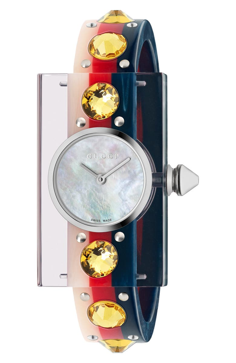 GUCCI Vintage Web Bangle Watch, 24mm x 40mm, Main, color, BLUE/ RED/ MOP/ SILVER