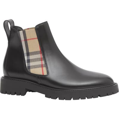 Burberry Allostock Check Chelsea Boot, Black