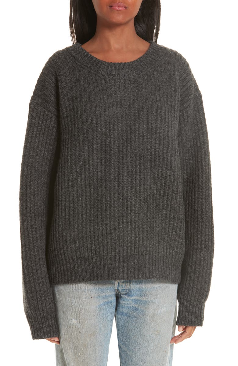 ACNE STUDIOS Ribbed Oversized Sweater, Main, color, 020
