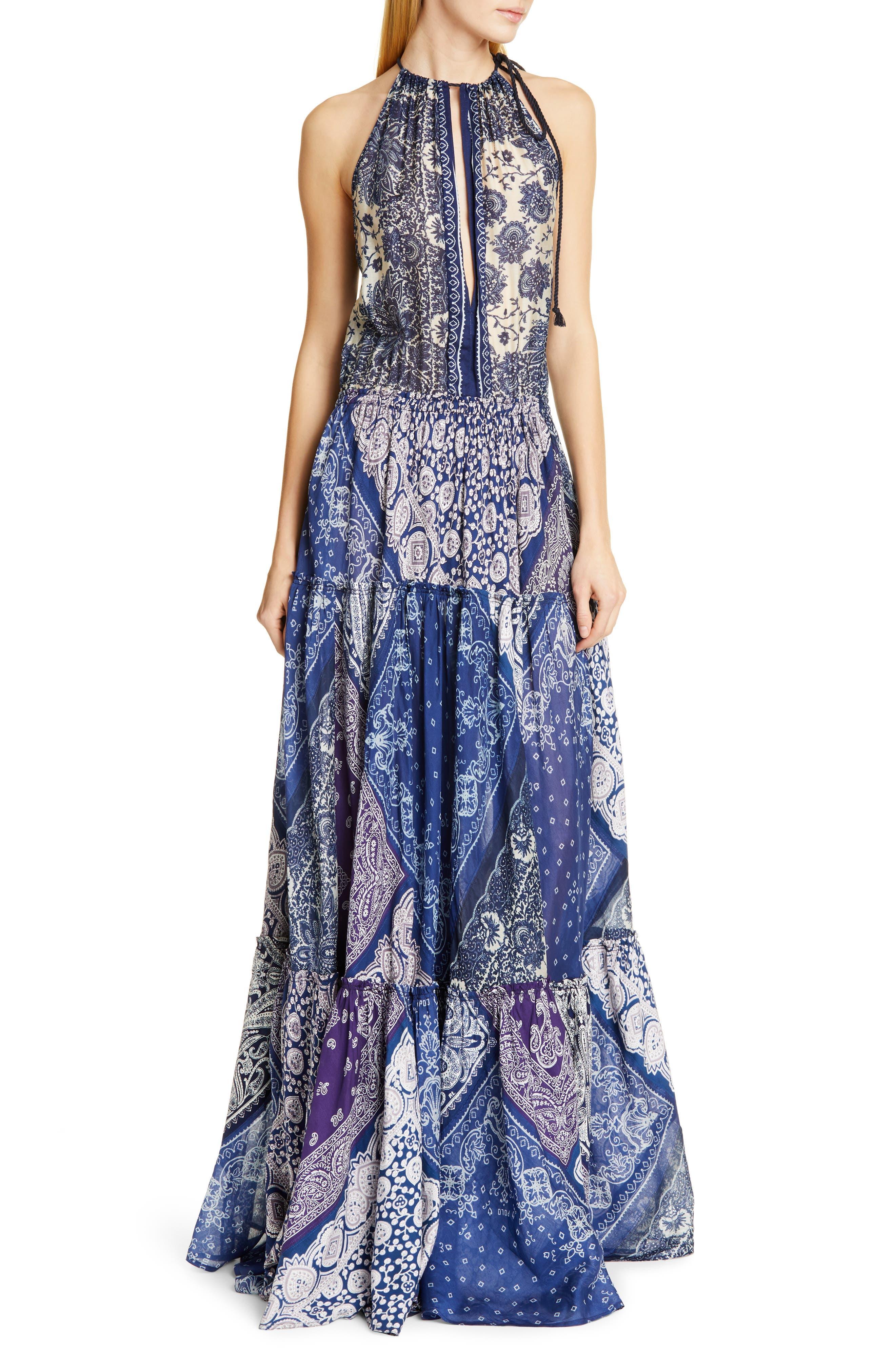 Polo Ralph Lauren Pattern Mix Keyhole Neck Sleeveless Maxi Dress, Blue