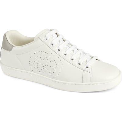 Gucci New Ace Perforated Logo Sneaker, White