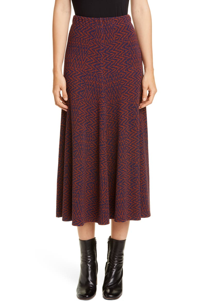 BEAUFILLE Curie Tiled Chevron Knit Midi Skirt, Main, color, NAVY BLUE AND SEPIA