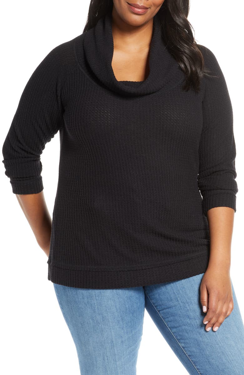 CASLON<SUP>®</SUP> Waffle Knit Cowl Neck Top, Main, color, BLACK