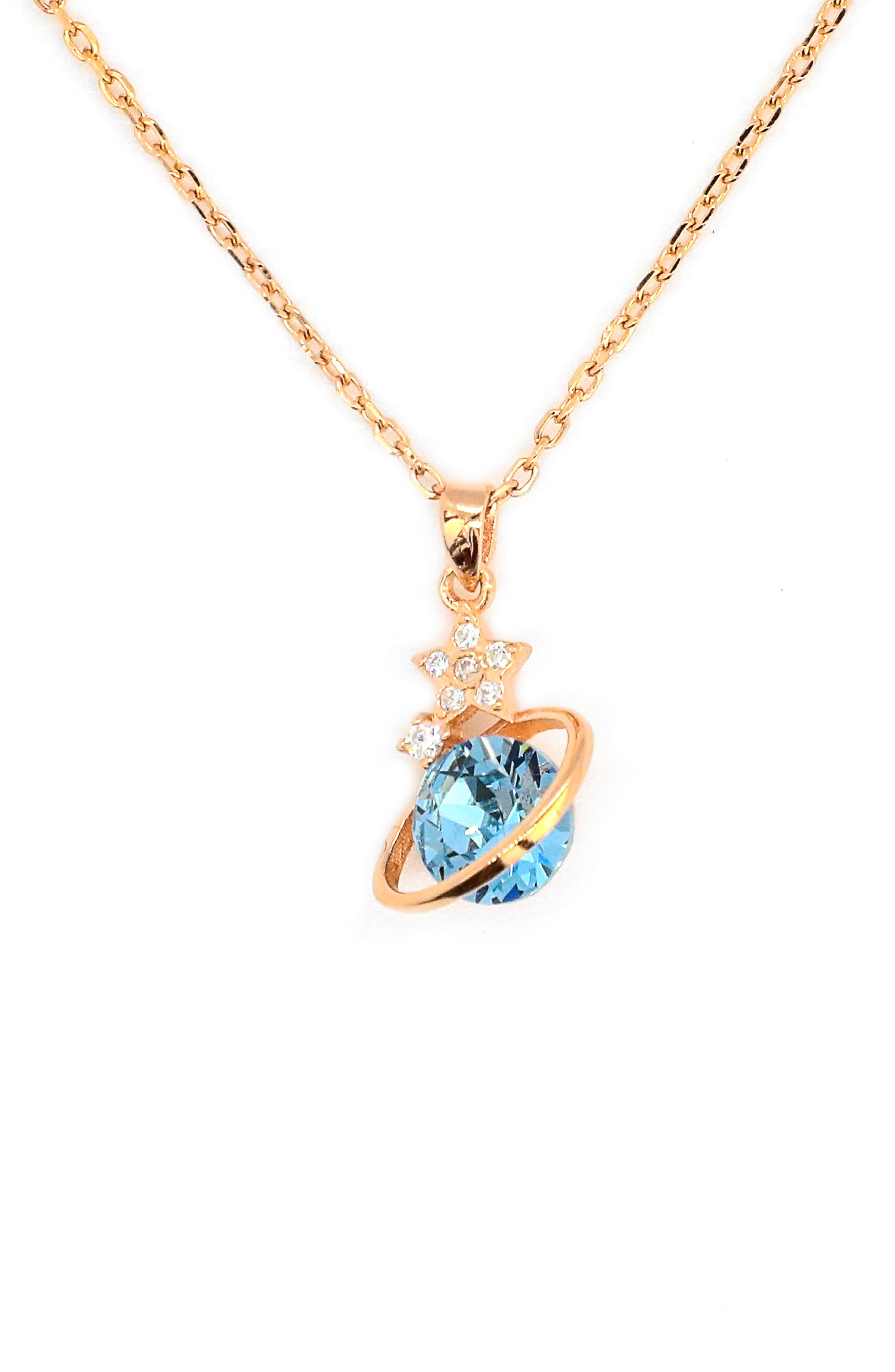 Dazzling Sloane Blue Jewel Planet Pendant Necklace