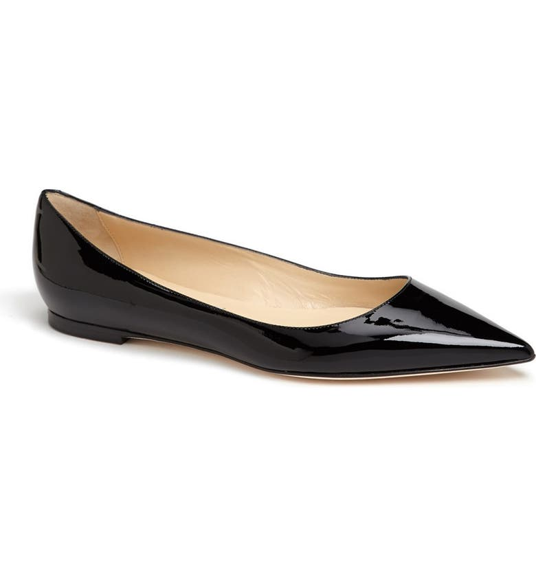 JIMMY CHOO 'Alina' Pointy Toe Flat, Main, color, 001