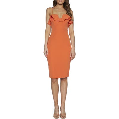 Bardot Rossa Frill Cocktail Dress, Orange