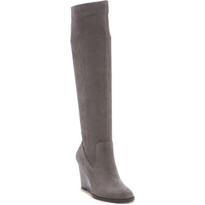 Sole Society Prony Knee High Wedge Boot, Grey