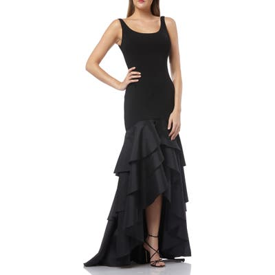 Carmen Marc Valvo Infusion Tiered High/low Crepe Gown, Black