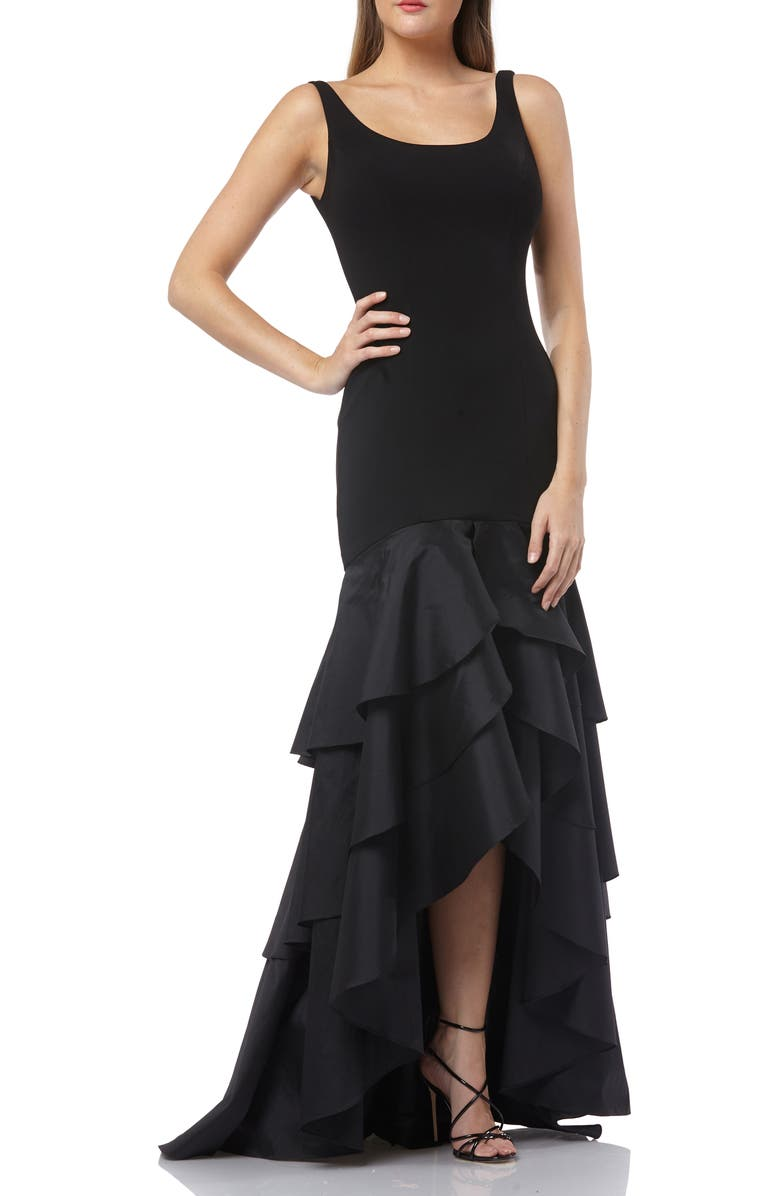 CARMEN MARC VALVO INFUSION Tiered High/Low Crepe Gown, Main, color, BLACK