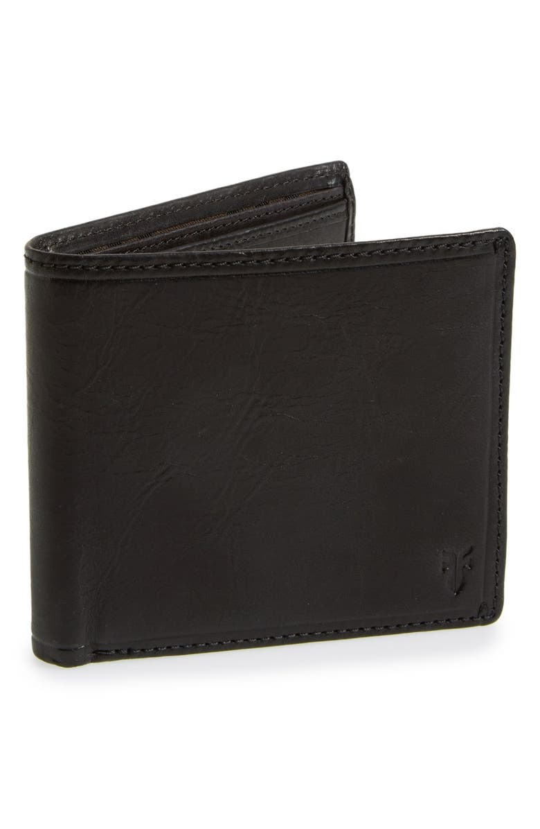 FRYE 'Logan' Leather Billfold Wallet, Main, color, 001
