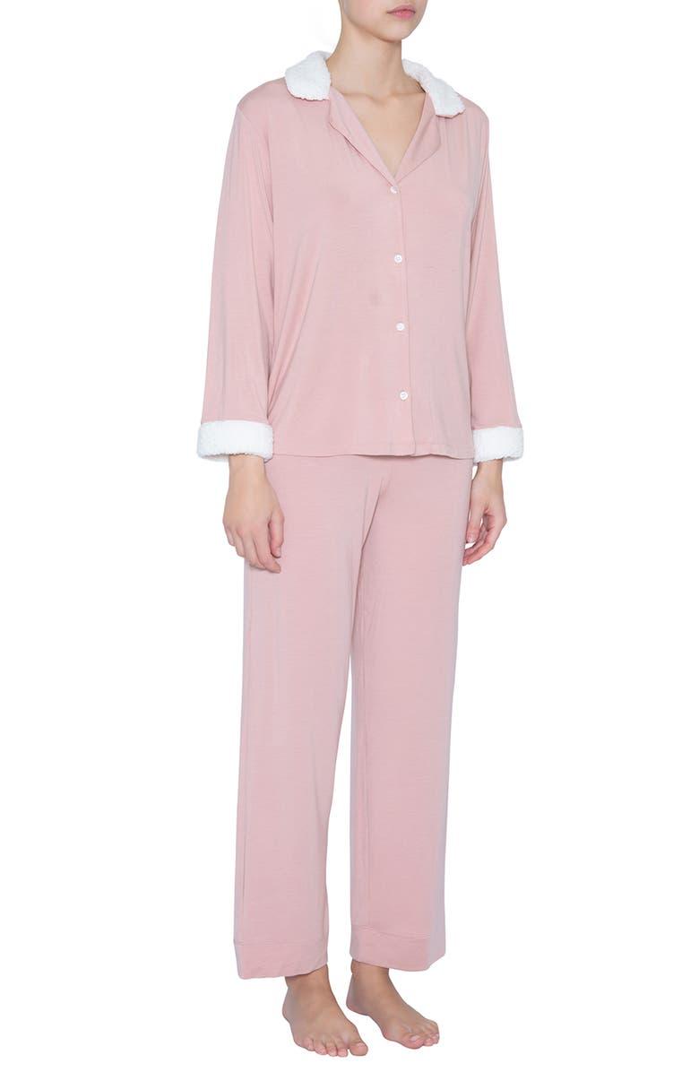 EBERJEY Gisele Fleece Trim Pajamas, Main, color, MI/ IV