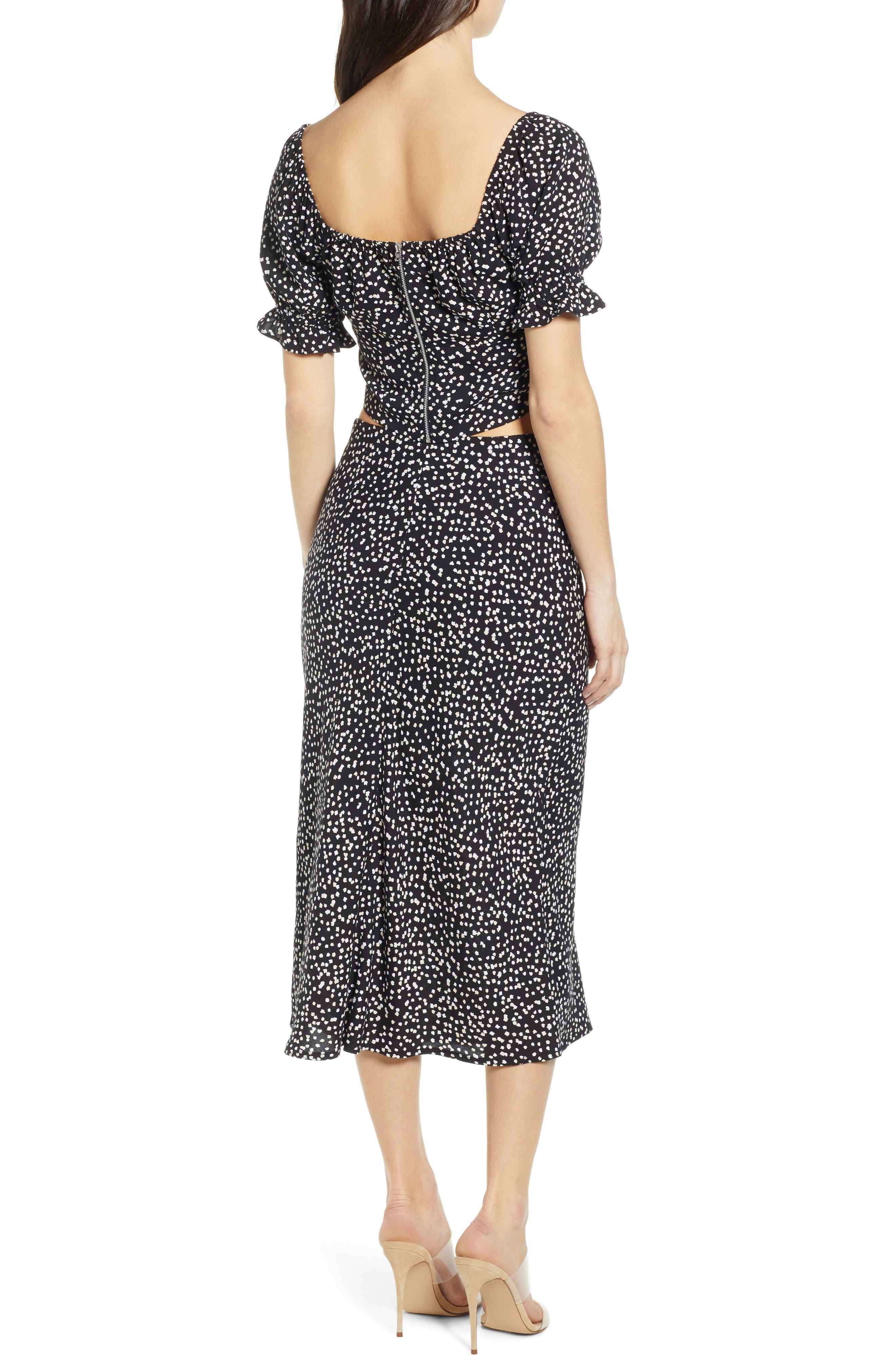 ,                             Button Side Midi Skirt,                             Alternate thumbnail 8, color,                             BLACK CINDY PRINT