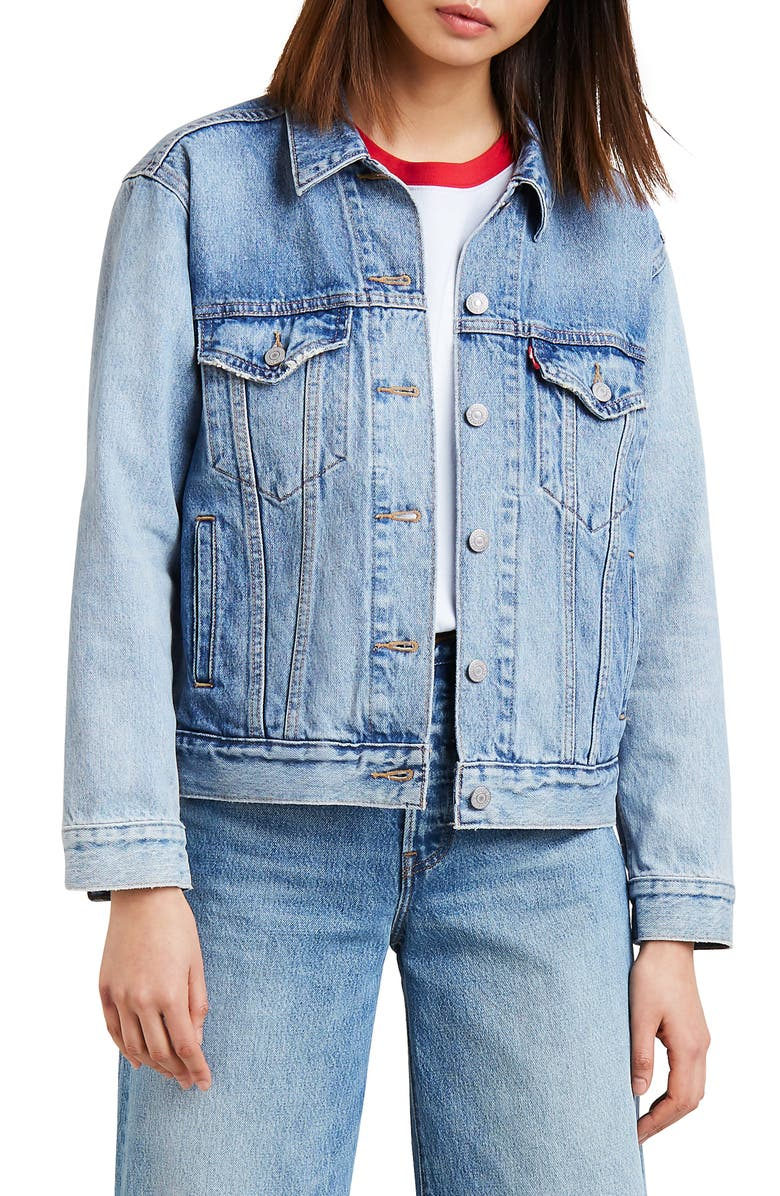 LEVI'S<SUP>®</SUP> Ex-Boyfriend Denim Trucker Jacket, Main, color, FOR REAL