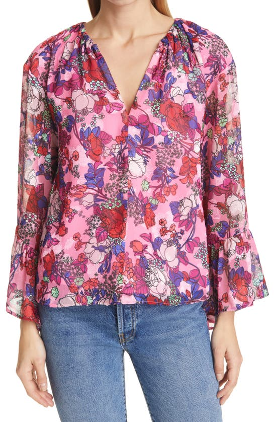 Tanya Taylor Women's Harper Floral Bell-sleeve Top In Multicolor Floral Neon Pink