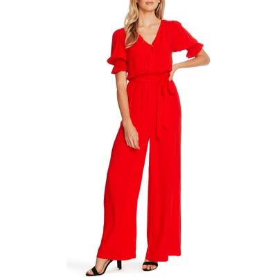 Cece Dot Jacquard Wide Leg Jumpsuit, Red