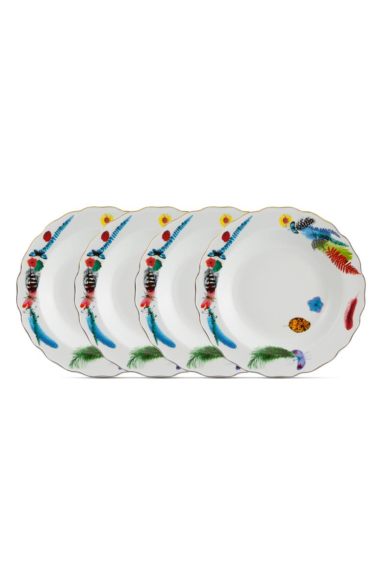 CHRISTIAN LACROIX Caribe Set of 4 Soup Plates, Main, color, WHITE