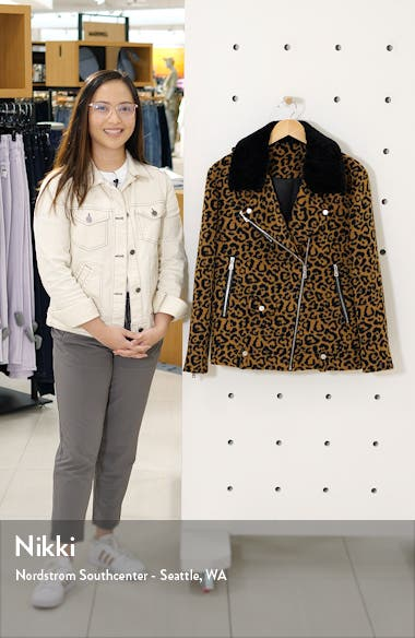 Leopard Print Wool Jacket with Faux Shearling Collar, sales video thumbnail