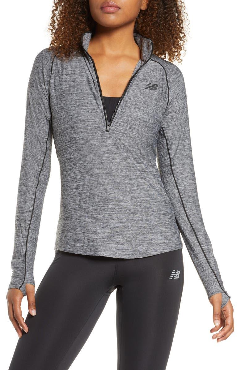 NEW BALANCE Transform Half Zip Pullover, Main, color, BLACK HEATHER