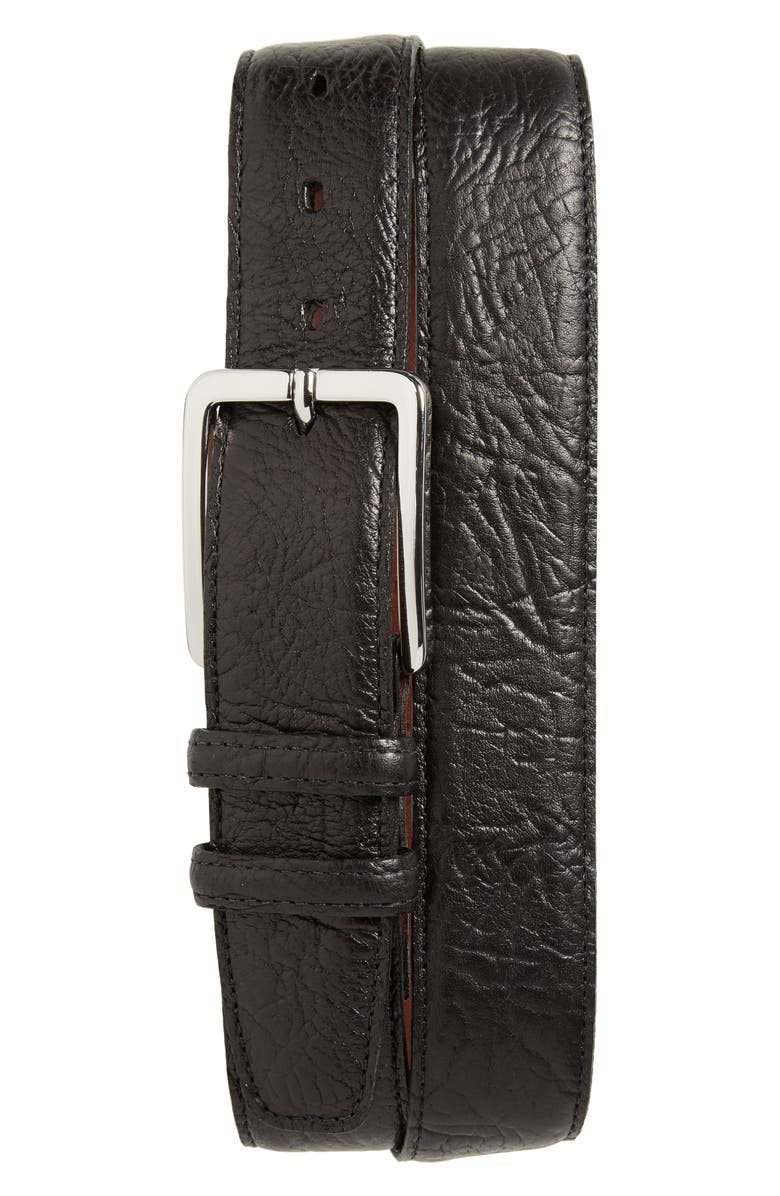 TORINO Shrunken Leather Belt, Main, color, BLACK