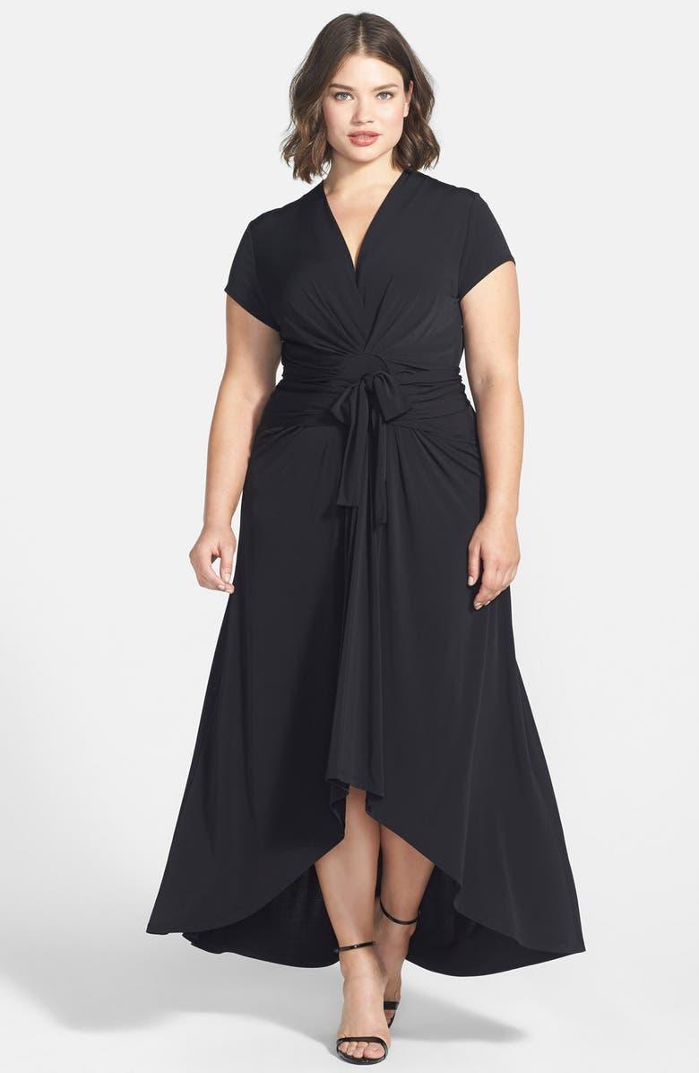 High/Low Faux Wrap Maxi Dress