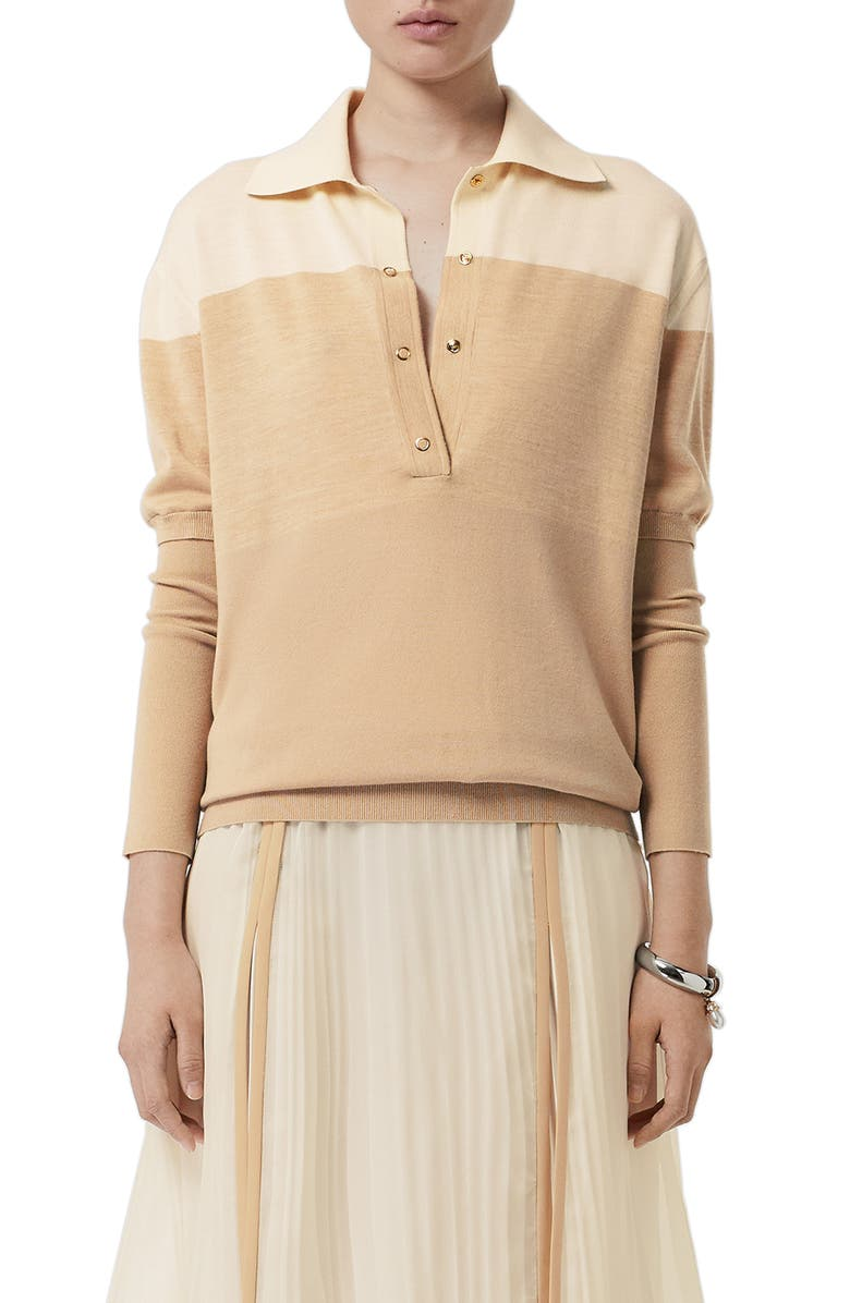 BURBERRY Colorblock Wool Polo Sweater, Main, color, LIGHT MAZE