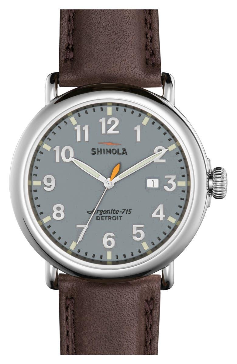 SHINOLA 'The Runwell' Leather Strap Watch, 47mm, Main, color, DEEP BROWN/ SLATE BLUE