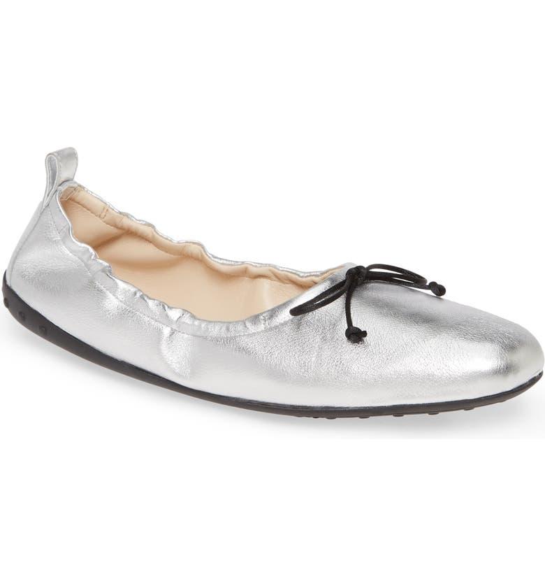 TOD'S Scrunch Ballet Flat, Main, color, ARGENTO