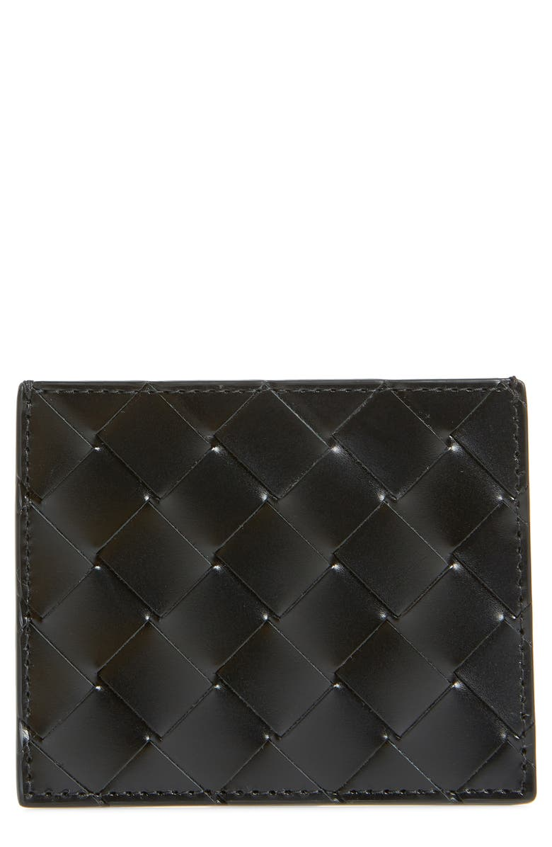 BOTTEGA VENETA Woven Leather Card Case, Main, color, NERO/NERO/NERO-SIL
