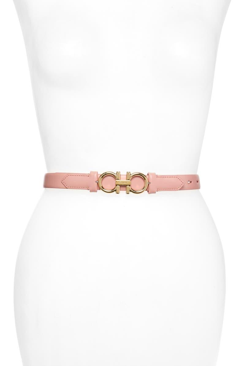 SALVATORE FERRAGAMO Double Gancio Reversible Buckle Leather Belt, Main, color, DESERT ROSE