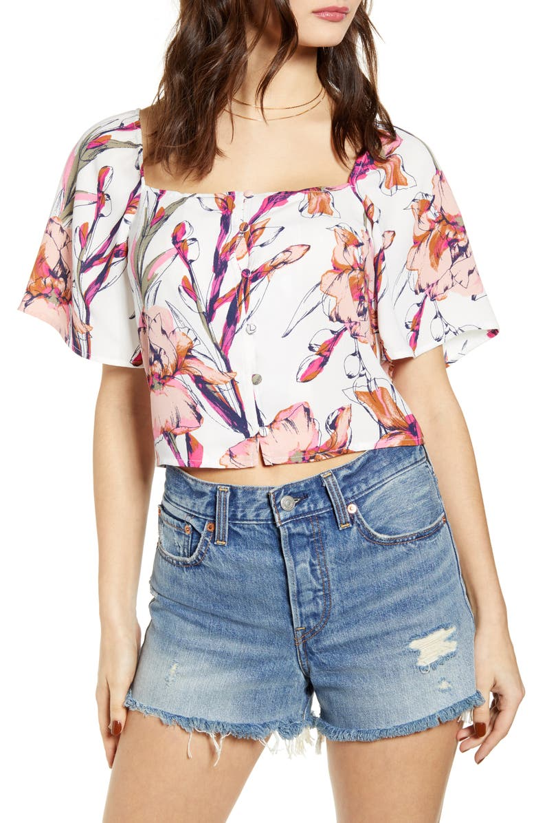 LEITH Square Neck Crop Top, Main, color, IVORY INKED IRIS