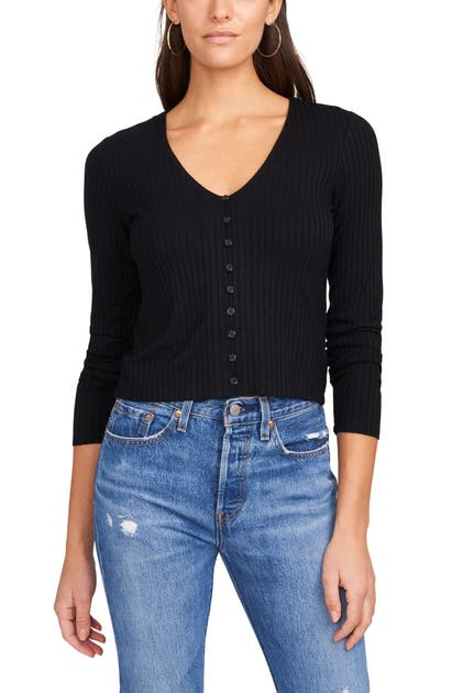 1.state RIB KNIT BUTTON-UP TOP
