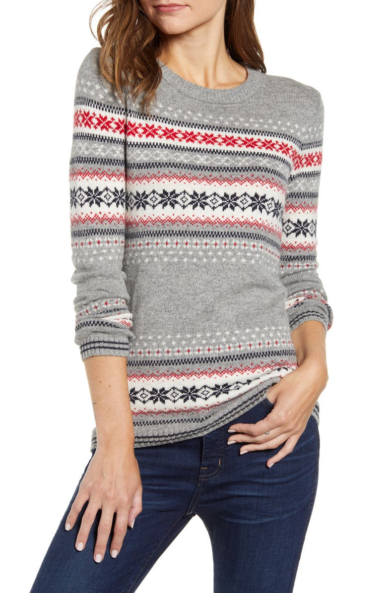 TOMMY HILFIGER Snowflake Fair Isle Sweater, Main, color, 097