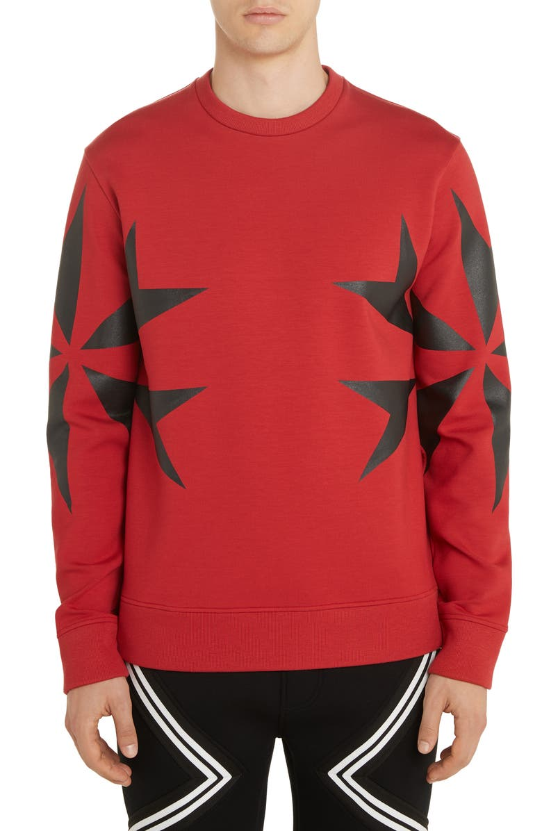 NEIL BARRETT Cross Graphic Sweatshirt, Main, color, RED/ BLACK