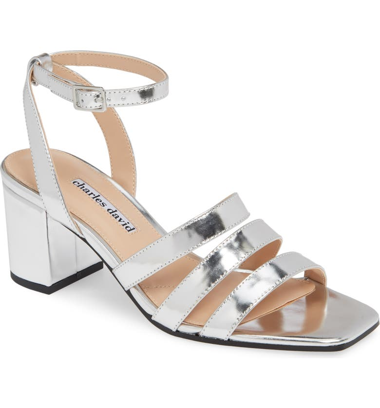 CHARLES DAVID Crispin Ankle Strap Sandal, Main, color, SILVER LEATHER
