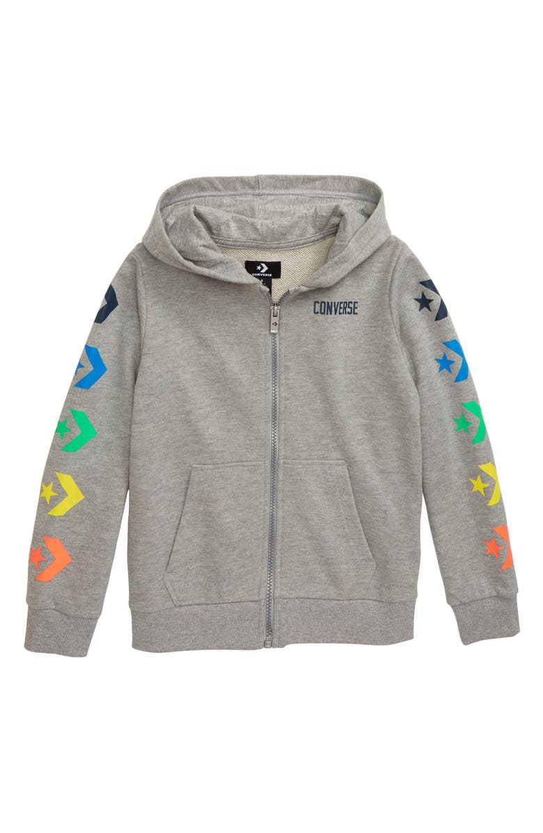 CONVERSE Star Chevron Graphic Zip Hoodie, Main, color, 020