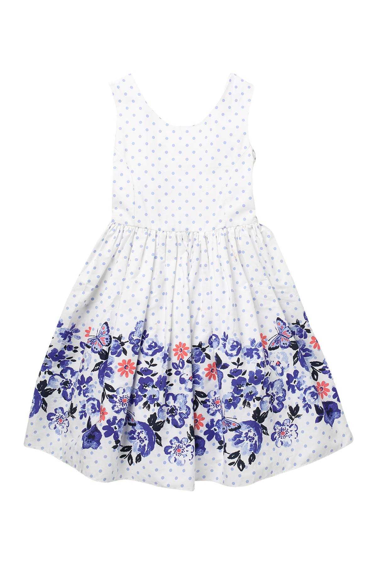 Image of Laura Ashley Polka Dot Dress with Floral Border