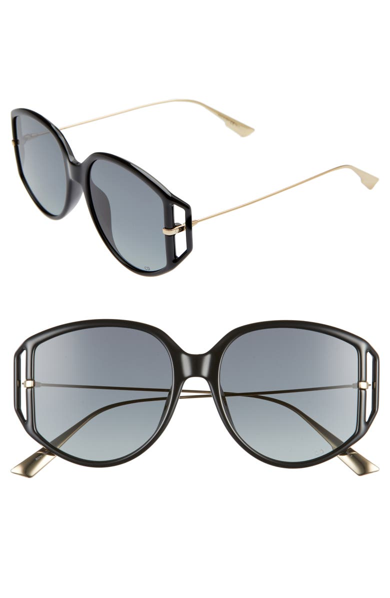DIOR Directio2S 54mm Oversize Sunglasses, Main, color, BLACK/ GREY
