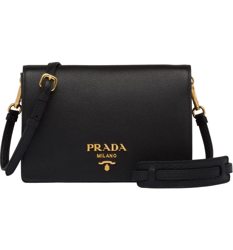 PRADA Daino Leather Flap Crossbody Bag, Main, color, NERO