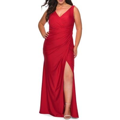 Plus Size La Femme Ruched Jersey Trumpet Gown