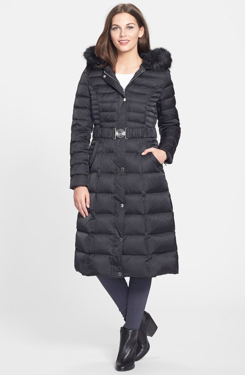 LAUNDRY BY SHELLI SEGAL Belted Hooded Long Quilted Coat with Faux Fur Trim, Main, color, 001