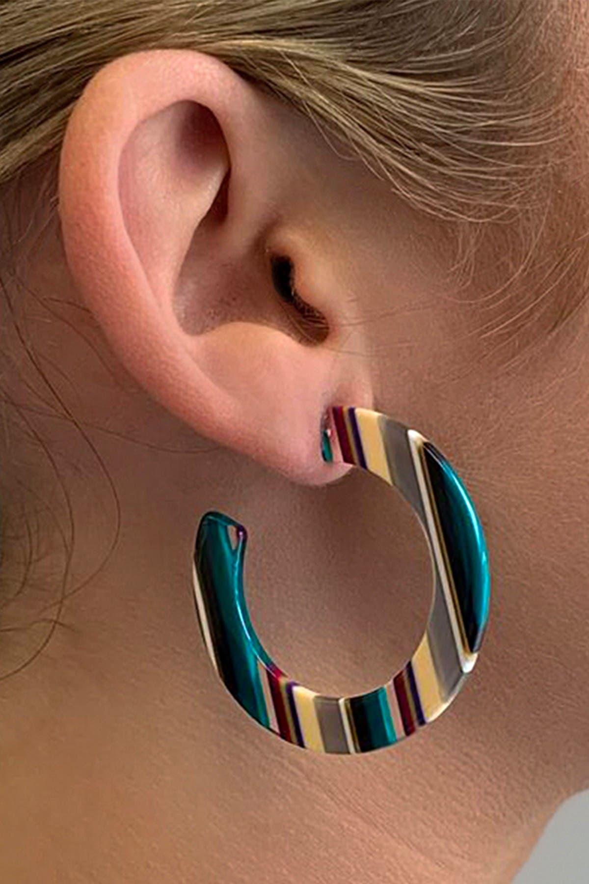Sterling Forever Candy Stripe Resin Hoop Earrings