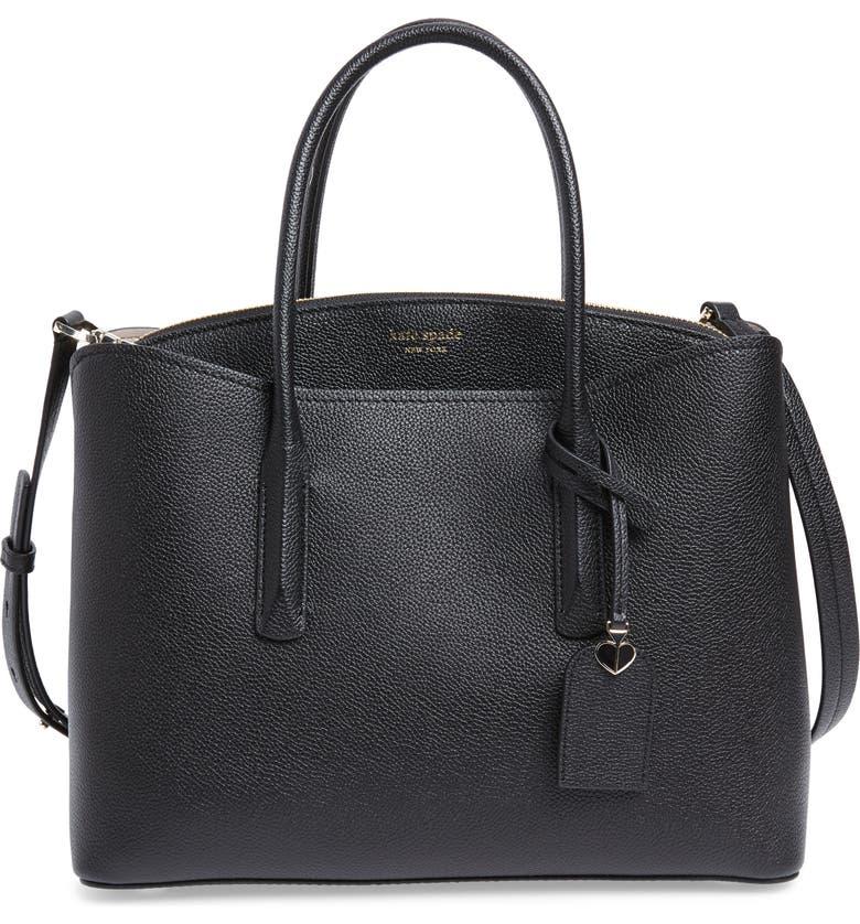KATE SPADE NEW YORK large margaux leather satchel, Main, color, BLACK
